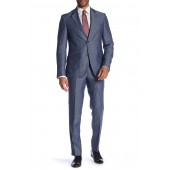 Two Button Notch Lapel Linen Trim Fit Suit