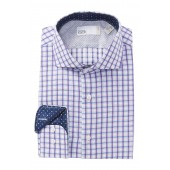 Textured Plaid Trim Fit Dress Shirt