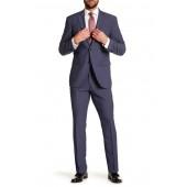 Solid Medium Blue Notch Lapel Suit