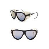 Noir 57mm Leather Modified Aviator Sunglasses
