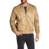 Ruched Front Zip Bomber Jacket