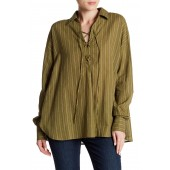 Under the Boardwalk Striped Linen Blend Blouse