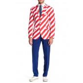 United Stripes Trim Fit Suit with Tie