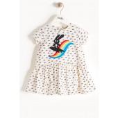 Rainbow Applique Short Sleeve Dress (Baby Girls)