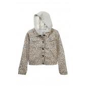 Leopard Two-Fer Denim Jacket (Big Girls)