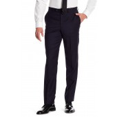 Navy Woven Mid Rise Wool Trousers - 30-34 Inseam