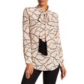 Essential Silk Fringe Tie Star Print Shirt
