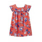 Pompom Trim Dress (Baby Girls)