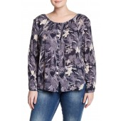 Bell Sleeve Button Back Floral Print Shirt (Plus Size)