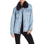 Faux Fur Collar Distressed Denim Jacket