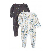 2-Pack UFOs & Galaxy Print Footies (Baby Boys)