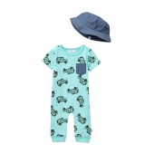 Jeep Romper & Hat Set (Baby Boys)