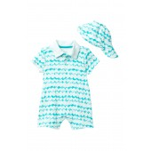 Wave Romper & Matching Hat (Baby Boys)