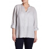 Drifty Roll Sleeve Linen Top (Plus Size)
