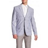 Blue Woven Two Button Notch Lapel Cotton Blazer