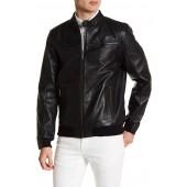 Zipper Leather Bomber Jacket