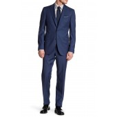 Blue Sharkskin Two Button Notch Lapel Wool Suit