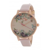 Womens Floral Border Dial Leather Strap Watch, 38mm