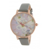 Womens Floral Dial Leather Strap Watch, 38mm