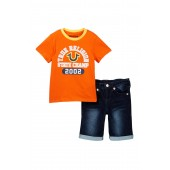 Graphic Tee & Denim Shorts Set (Toddler Boys)