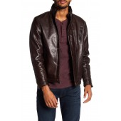Stand Collar Lamb Leather Jacket