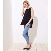 Maternity Vine Trim Soft Slim Pocket Skinny Crop Jeans in Vivid Light Indigo Wash