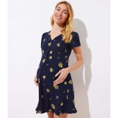 Maternity Floral Button Down Flare Dress