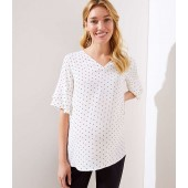 Maternity Dotted Tiered Bell Cuff Top