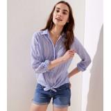 Striped Button Down Tunic Shirt