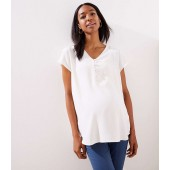 Maternity Buttoned Petal Sleeve Top