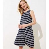 Petite Maternity Striped Back Cutout Sleeveless Swing Dress