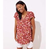 Maternity Floral Vine Buttoned Petal Sleeve Top