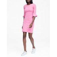 Ponte Flutter-Sleeve Dress