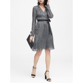 Pleated Metallic Faux-Wrap Dress