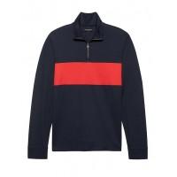 Luxury-Touch Half-Zip Chest-Stripe T-Shirt
