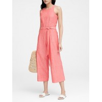 Linen-Cotton Cropped Jumpsuit