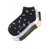 Navy Bootie Sock 3-Pack