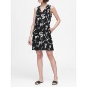 Floral Pleated-Shoulder Shift Dress