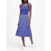 Square-Neck Knit Midi Dress