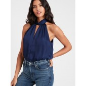 Satin Twist-Neck Top