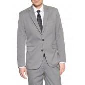 Standard-Fit Stretch Grey Herringbone Blazer
