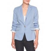 Machine Washable Blue Mini Herringbone Cutaway Suit Blazer