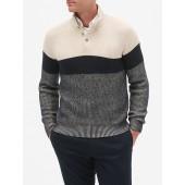 Colorblock Mock Neck Pullover Sweater