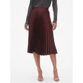 Satin Sheen Pleated Midi Skirt