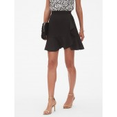 Side Ruffle Fit and Flare Skirt