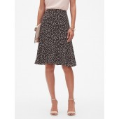 Dot Print Flounce Hem Midi Skirt