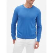Textured-Sleeve Crew Neck Sweater