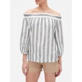 Stripe Off-the-Shoulder Blouse