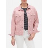 Pink Oversized Denim Jean Jacket