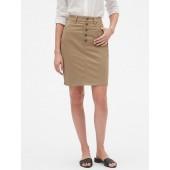 Chino Button Through Pencil Skirt